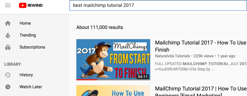 Youtube tutorial for Mailchimp